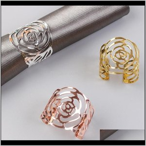 Rose Napkin Ring Silver Gold Rose Gold Color Hollow Out Napkin Holder For Party Wedding Table Decoration Lowmp Rmcas