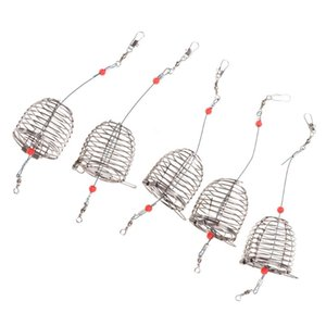 5pcs 8pcs Stainless Steel Fishing Bait Cage Lure Trap Basket Feeder Holder Tackle Accessories
