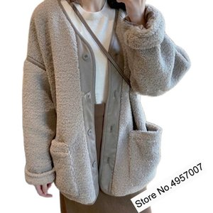Womens Leather Wool Blend Faux V Neckline Long Sleeve Jacket Ladies Suede Fur Outerwear Top