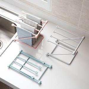 Bathroom Storage & Organization Accordion Vertical Plastic Towel Holder Land Type Four Bar Clean Dishcloth Rack Cup Kitchen