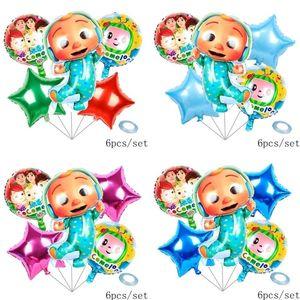 Acessórios dos desenhos animados 6 pçs / lote Cocomelon Ji Aluminum Film Balloons Six Piece Conjuntos Dupla face Coco Melon Party Balão Decorativo