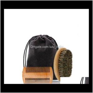 Boar Bristle Beard Brush & Handmade Beard Comb Kit For Men Mustache With Cloth Bag Bfdwx Cni86