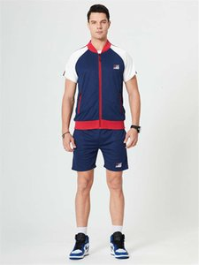 Summer Sports 2PCS Tracksuits Cardigan Stripe Print Short Sleeve Mens Sportswear Casual Male Active Two Piece Sets
