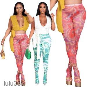 Women Pants 2021 summer New Designer Fashion women's casual printing Leggings trousers multicolor Slim sexy mesh elastic stockings pants CY4533 lulu365