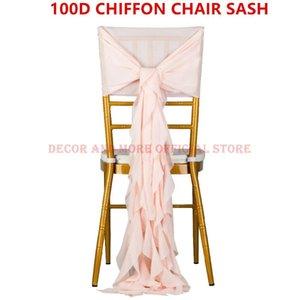 Decoration Outdoor Party Wedding Chiffon Chair Sash For Chiavari White Pink Tiffany Cap Ruffled Hood Sashes