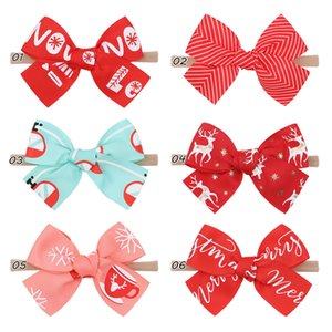 6 Colors Girl Christmas Headband Hair Bows 4.25 inch Bow Boot Lucky Deer Santa Claus Red Green Patchwork Design Baby Girls Elegant Kids Accessory Gift