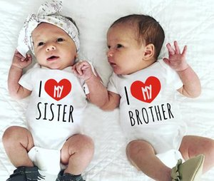 Rompers 2021 I Love My Sister And Brother Black Baby Bodysuit Soft Cotton Girls Boys White Clothes Born Romper Outfits