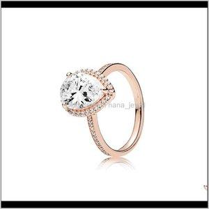 눈물 드롭 CZ 다이아몬드 925 실버 결혼 반지 Pandora 18K 로즈 골드 워터 드롭 링 여성을위한 세트 R9ZDR SIGJ8