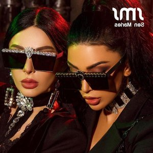 Vintage Women Square Sunglasses 2021 Luxury Diamond Sun Glasses Rhinestone Female Eyewear Metal Frame Mirror Shades UV400 Gafas