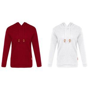 Men's Hoodies & Sweatshirts 2 Pcs Men Hoody Male Long Sleeve Solid Color Hooded Sweatshirt Hoodie Pullover Casual Tracksuit L, White Red