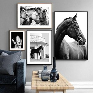 Paintings Black White Pography Horses Poster Animals Canvas Painting On The Wall Nordic Print Picture For Living Room Home Decor