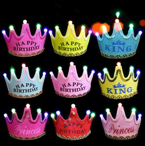 Children's birthday party decoration hats Christmas glowing crown cap baby one-year-old adornment supplies date of birth hat