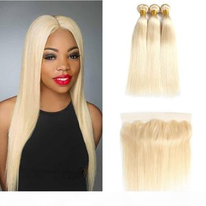 Brazilian Virgin Human Hair Extensions Straight 613 Honey Blonde Human Hair Weave with Closure 3 Bundles With 13x4 Lace Frontal