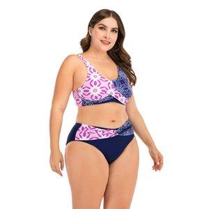 Drozeno Kupası Bikini Bayanlar İki Tonlu Baskı Dikiş Yüksek Bel Mayo Seksi Mayo Bayan Beachwear