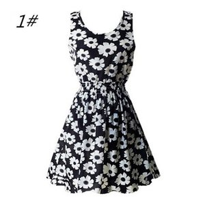2021 spring new trend sleeveless O-neck printed chiffon casual dress mid-length female boho style ladies breathable dress casual wear