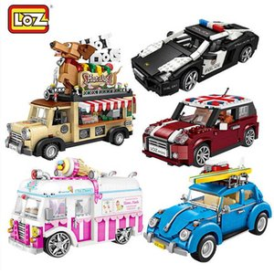 LOZ Blocks Ice Cream Truck Mini Car Toy Figurines Not Compatible Creator Technic mini building Series block Gift For Girl boys Q0624