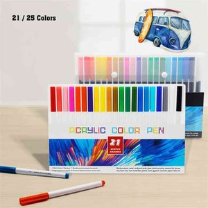 21 25 Color Permanent Acrylic Paint Marker Pens for Fabric Canvas, Metal and Ceramics, Glass, Art Rock Painting, Card Making 210902