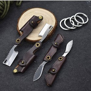 Special Offer Small Keychain Folding Blades Knife D2 Satin Blade Cow Leather Sheath Handle Knives EDC Tools