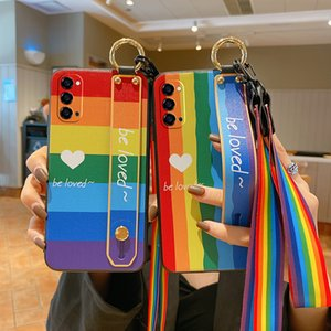 Phone Cases For OPPO R9s R11 R15 R17 RENO2 3 4 Anti-dirty Silicone Protective Shockproof Mobile Case Rainbow Wristband Long&Short Lanyard Cover