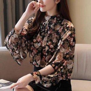 Women's Blouses & Shirts Fashion Slim Retro Floral Print Shirt Female Loose Round Neck Long Sleeve Hollow Ethnic Chiffon Pullover Women Spri