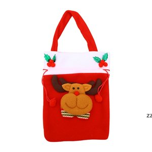 Merry Christmas Candy Gift Bags Non-woven Printed Handbag For Santa Reindeer Snowman Xmas Tree Pendant Ornament Decoration HWA8653