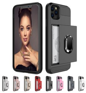 Colorful Slide Cover Card Holder Ring Case For Iphone 6 7 8 Plus X XR 11 12 Pro Max For Samsung s10 s11 s20 note 20