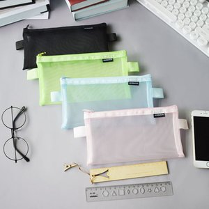 Nylon mesh bags student large-capacity exam stationery cases bill information bag transparent pencil case