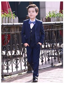 Suits Formal Big Boys For Weddings England Style Man Child Blue black Party Tuxedos Blazer+Pants+shirt+Tie