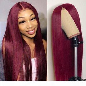 Безвездный длинный прямой 99j 13x4 кружева передние человеческие волосы парик предварительно сорванный с детским волосами красный цвет бразильский реми