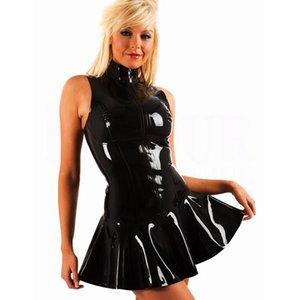 Повседневные платья женщины сексуальный черный искусственный кожаный костюм джазовый танец верхняя одежда латексная клубная одежда