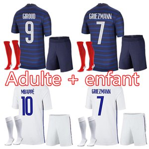 Maillots de football 2021 mbappe grizmann pogba 20 21 الرجال الاطفال كرة القدم جيرسي مايلوت دي القدم fekir pavard football kit top shirt hommes enfants