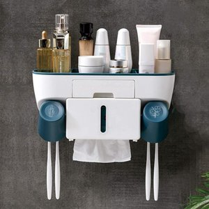 Toothbrush Holders Multifunctional Holder Wall Mounted-Toothbrush Organizer With Tissue Box,Cosmetic And Cell Phone