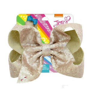 8 Inch Jojo Siwa Hair Bows Jojo Bows With Clip For Baby Children Large Sequin Bow Unicorn hair Bows OOD5581