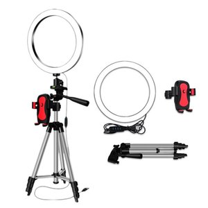 Tripods LED Selfie Ring Light With Phone Holder Pography Dimmable Youtube Video Live Po Studio USB Plug