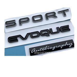 Black Letters EVOQUE SPORT Autobiography Trunk Lids Rear Badge Emblem Emblems Badges for Discovery Range Rover