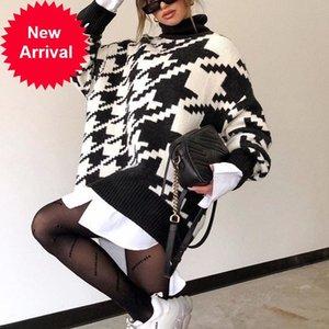 Simplee Turtleneck knitted autumn winter women Houndstooth long pullover femlae Fashion warm black white sweater ladies