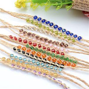 Charm Bracelets Fashion braided rainbrow 12 beads raphia bracelets jewelry friendship Love Lucky Grass Crystal Women Bracelets 586 Q2