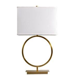 Minimalist Copper Ring LED Bedside Desk Light with Bronze Base Quietly Elegant Night Lightings Brass Circle Lampbody Table Lamp