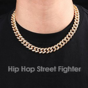 ZB002 Chains Necklaces Trendsetter Cuba Chain Inlaid with 12mm Full Diamond Bracelet for Men and Women
