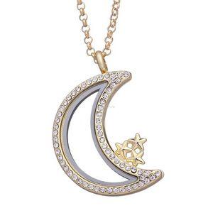 Ожеребленные плавающие медальон ожерелье Золотые цепи хрустальная звезда луна живой памяти кулон ожерелья для женщин DIY мода ювелирные изделия
