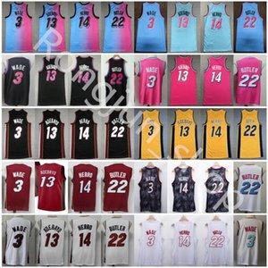 2021 Atacado Dwyane 3 Wade Basketball Jersey Jimmy 22 Butler Mens Tyler 14 Herro Bam 13 Adebayo Preto Branco Amarelo Azul Azul Pink Jersey Shorts