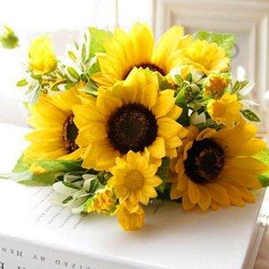무리 7 머리 해바라기 실크 인공 꽃 꽃다발 집 결혼식 장식 거실 파티 테이블 창 장식 장식 꽃