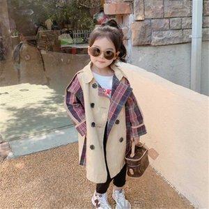 Куртки девушки длинные ветровка весной осень детей мода хлопчатобумажная одежда для девочки детская верхняя одежда малыша куртка