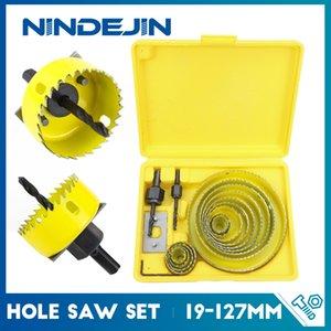 NINDEJIN 8 11 16pcs #50 steel 19-127mm Hole Saw Cutter Drill Bit Tool Set for Wood Plastic Woods