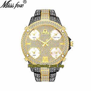 MISTFOX EVERNITY V305 HIP HOP Мода Мужские Часы 51 мм CZ Diamond Inlay Multi Dial Кварц Движение Мужчины Часы Ледяные Алмазы Брезель Сплав Черный Золотой Браслет