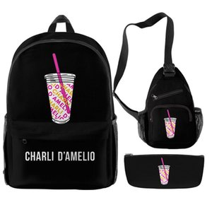 Charli Backpack Oxford Piece House Girls D'Amelio Hype Set Teenager Boys Streetwear The Scholol Bag Unisex Travel 3 Students Ptpnb