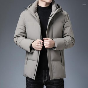 Mens Down Jacket New Autumn and Winter Casual Handsome Menswear Youth Warm Thickened Hooded Gray Duck Velvet1