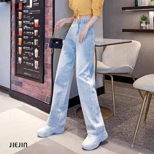 Women's Jeans High Street Women Denim Blue Trousers Plus Size 32 Femme Pantalon Waisted Loose Wide Leg Pants Big Sizes 2021
