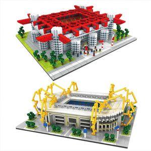 2020 Футбол Старый лагерь Траффорд Ноу Бернабеу Сан-Сэр Стадион Реал Мадрид Барселона Клуб Алмазные Строительные Блоки Игрушки Подарок X0522