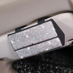 Cristal Strass Vidros de carro Caixa de suporte Magnético Sunvisor Caso Armazenador Organizador Sunshade Auto Acessórios Outros Interiores